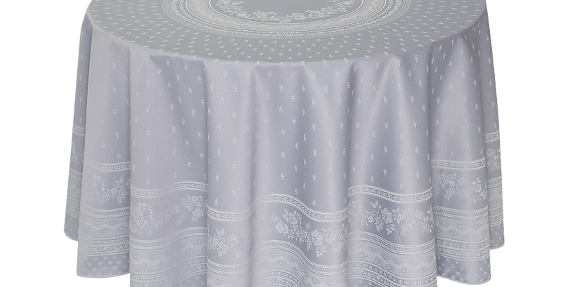 "Light Grey Durance 90"" Round Jacquard Woven Tablecloth"