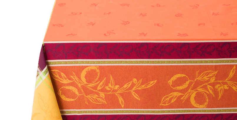 "French Tablecloth Jacquard 63"" x 63"" Orange Citronnier"
