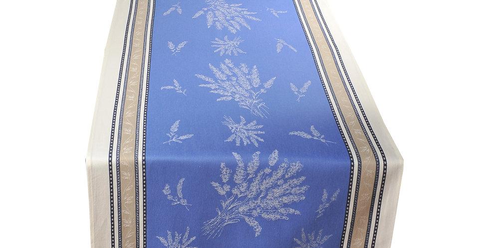 Ecru/Blue Senanque Jacquard Woven Table Runner