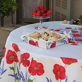 French tablecloth coated white poppy & lavender