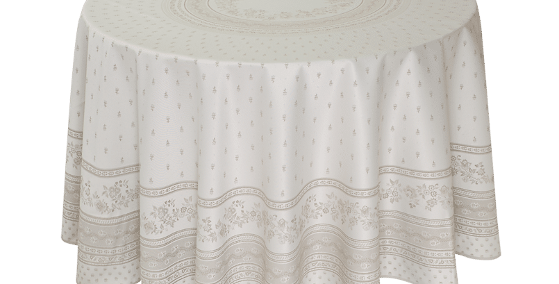 """Beige Durance 90"""" Round Jacquard Woven Tablecloth"""