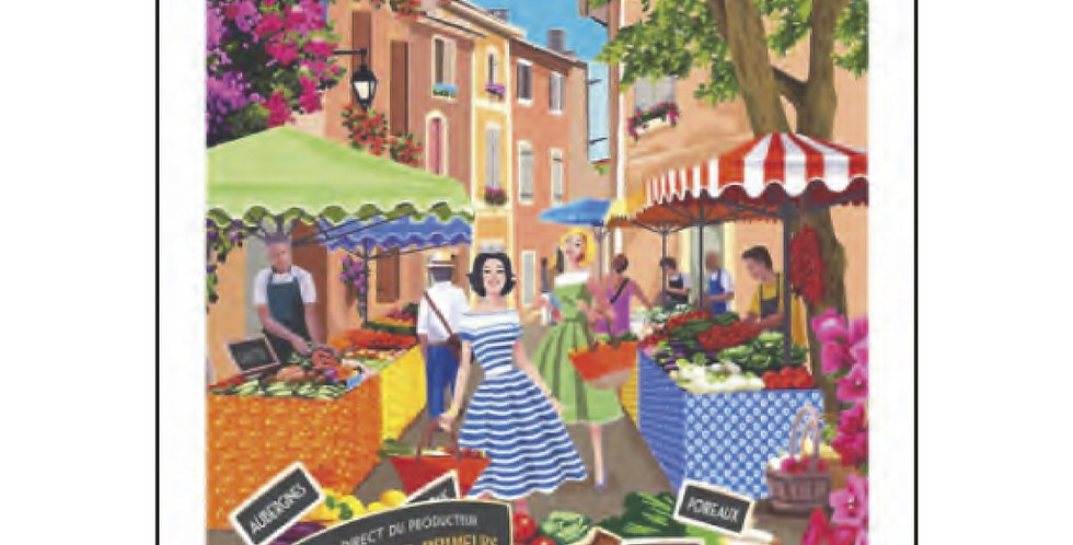 Provence Market Printed Cotton Kitchen Towel