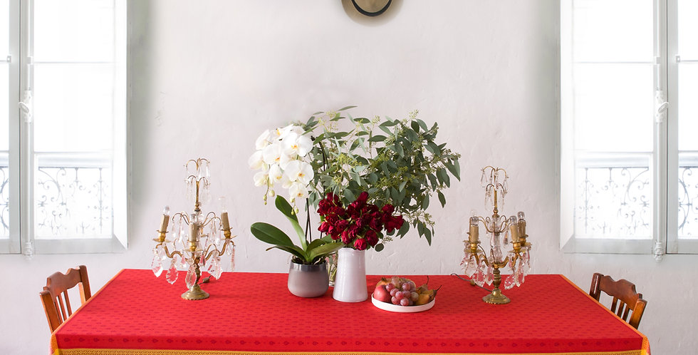 Red Massilia Jacquard Woven Tablecloths