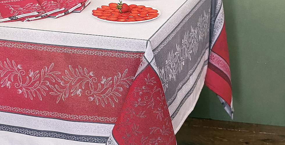 French Tablecloth Jacquard Red/Grey Olivia