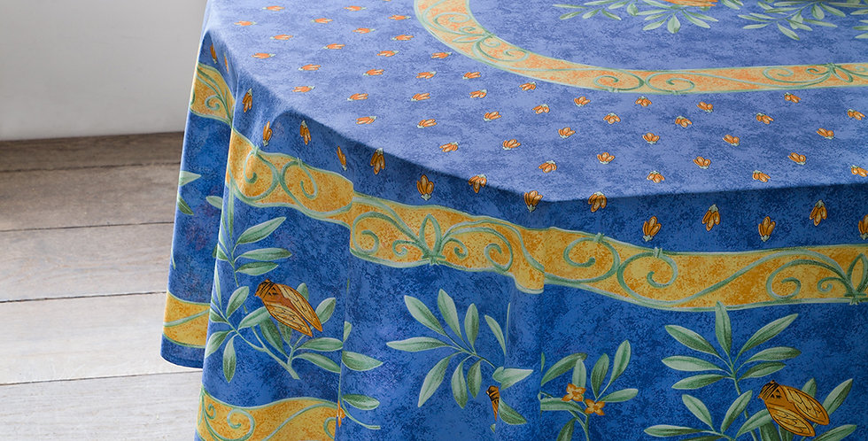 Blue Cigale Center Design Coated Cotton Tablecloths