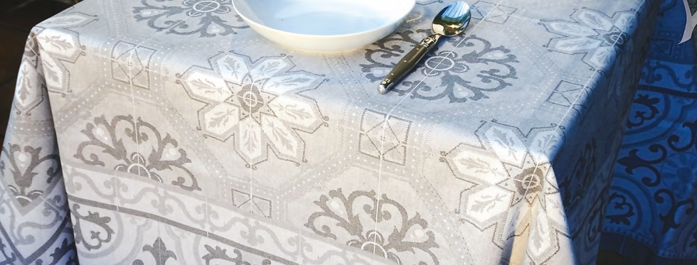 Grey Mosaique Jacquard Woven Tablecloths