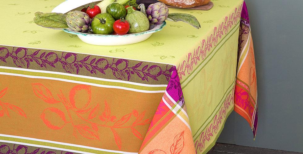 "Green Citronnier Jacquard 63"" x 98"" Tablecloth"