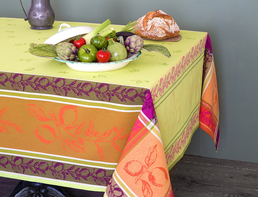 Green Citronnier Jacquard Woven Tablecloths
