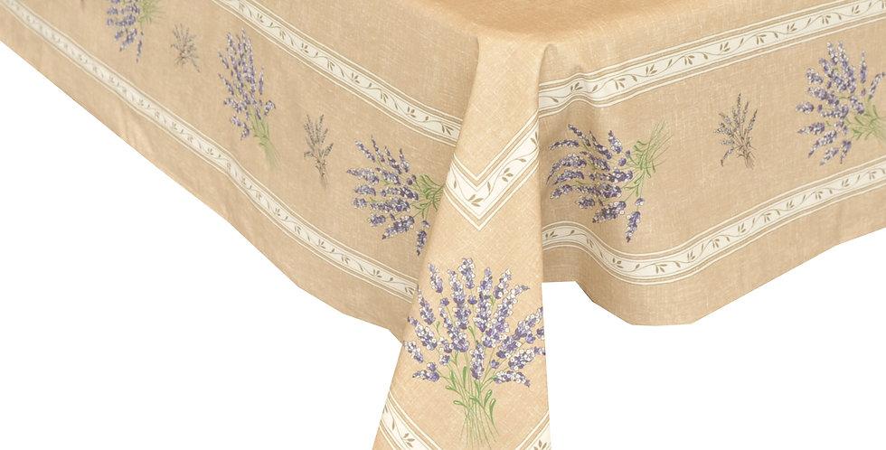 Beige Valensole Center Design Coated Cotton Tablecloth