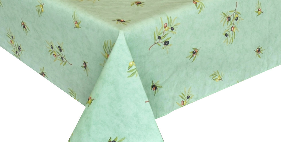 Green Clos Des Oliviers All Over Coated Cotton Tablecloths