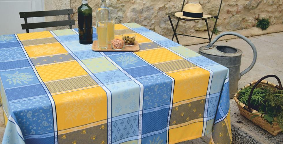 Yellow/Blue Valbonne Jacquard Woven Tablecloths