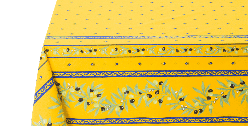 Yellow/Blue Ramatuelle Coated Cotton Tablecloths