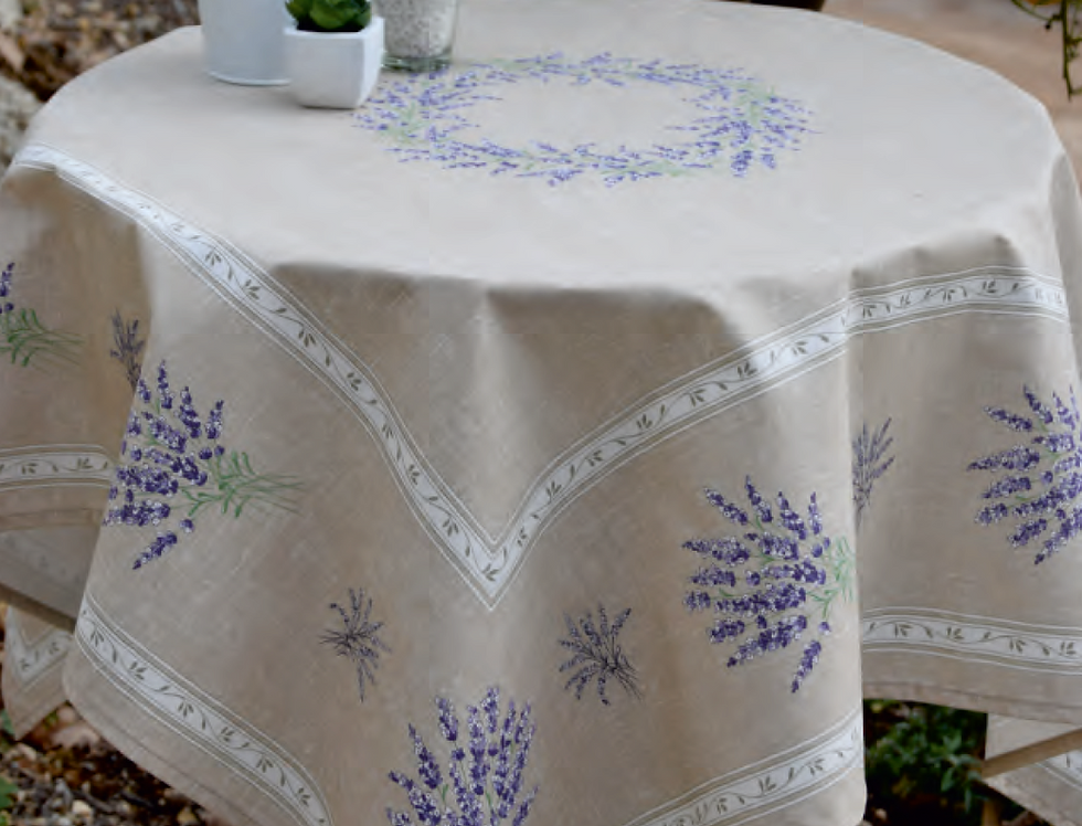 Beige Valensole Printed Cotton Table Topper