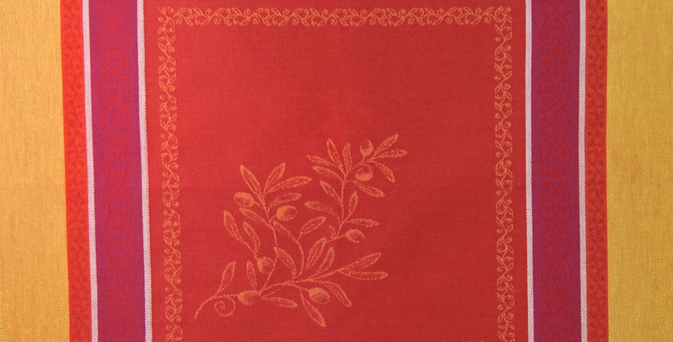 French Napkin Jacquard Red/Yellow Olivia
