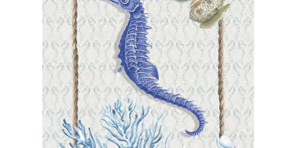 Blue Seahorse Printed Cotton Kitchen Towel