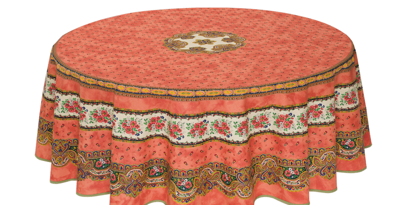 "Orange Tradition 70"" Round Coated Cotton Tablecloth"