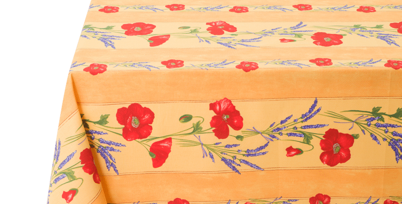 Yellow Poppy & Lavender Striped Coated Cotton Tablecloths