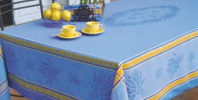 Blue/Yellow Senanque Jacquard Woven Tablecloths