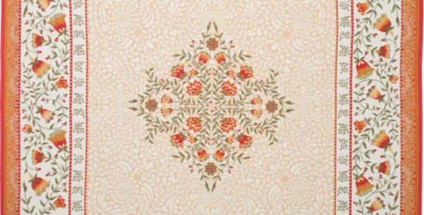 Ecru/Orange Aubrac Jacquard Tapestry Table Topper