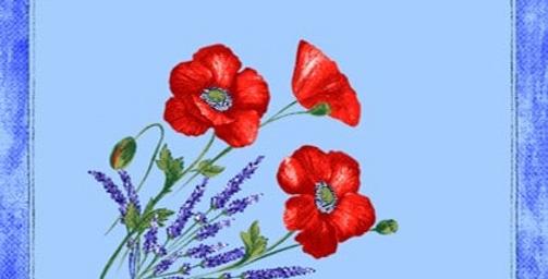 French Napkin Cotton Light Blue Poppy