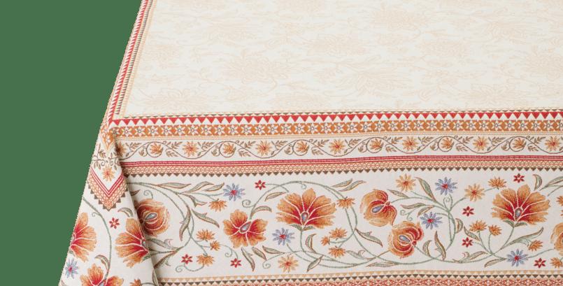 Ecru/Orange Sillans Jacquard Tapestry Tablecloth