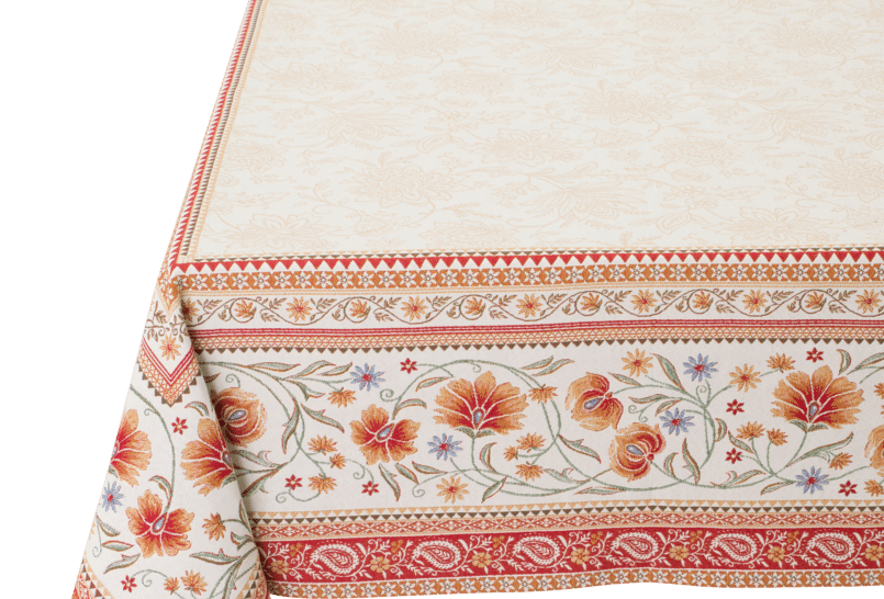 Ecru/Orange Sillans Jacquard Tapestry Tablecloth