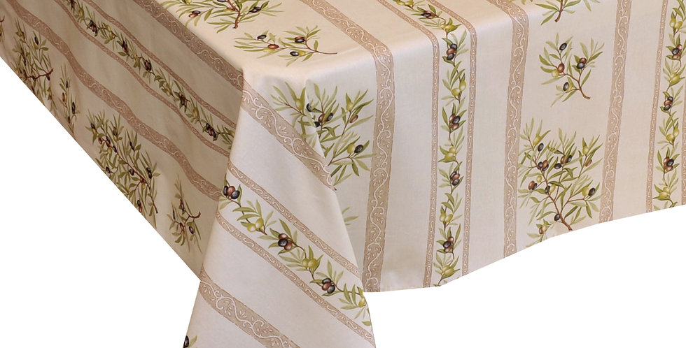 Ecru Clos Des Oliviers Striped Coated Cotton Tablecloths