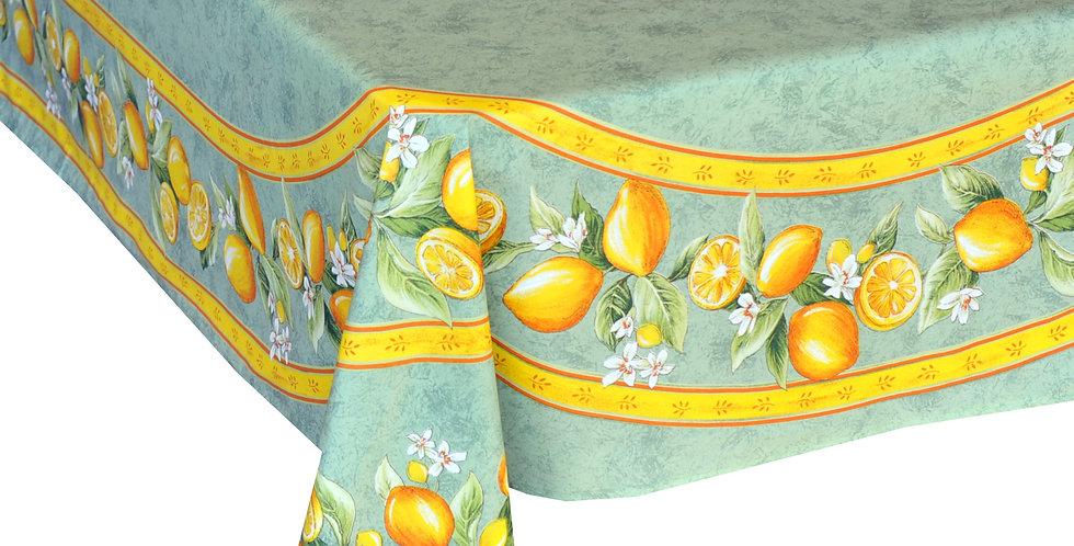 Green Citron Center Design Coated Cotton Tablecloths