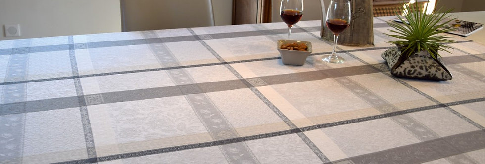 Ecru/Grey Maussane Jacquard Woven Tablecloths