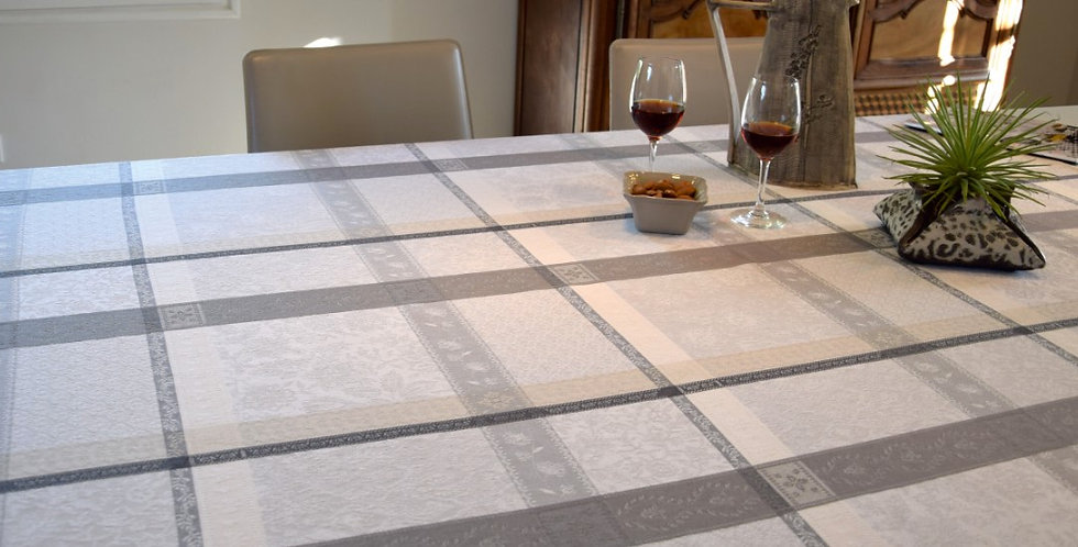 Ecru/Grey Maussane Jacquard Woven Tablecloths