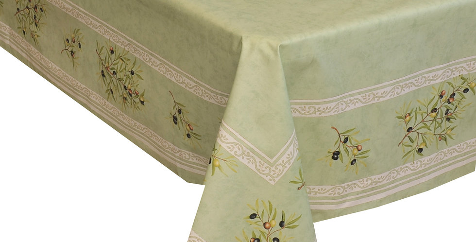Green Clos Des Oliviers Center Design Coated Cotton Tablecloths