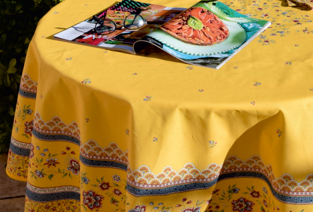 "Yellow Beaucaire 70"" Round Coated Cotton Tablecloth"