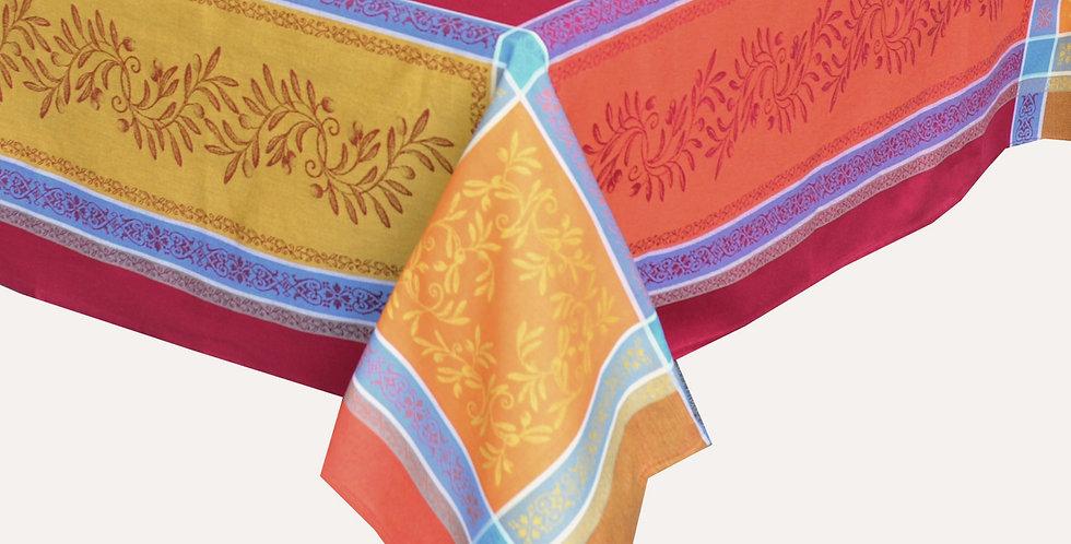 Orange/Red Olivia Jacquard Woven Tablecloths