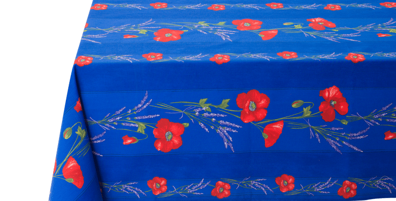 Blue Poppy & Lavender Striped Coated Cotton Tablecloths