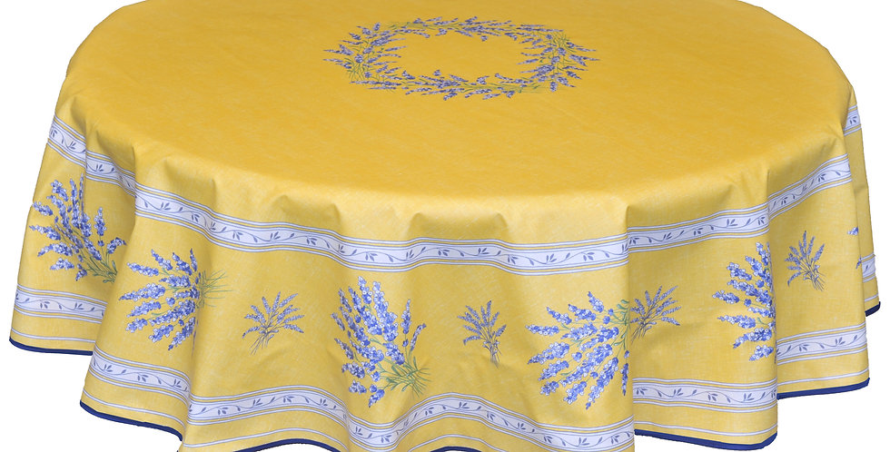 """Yellow Valensole 70"""" Round Coated Cotton Tablecloth"""