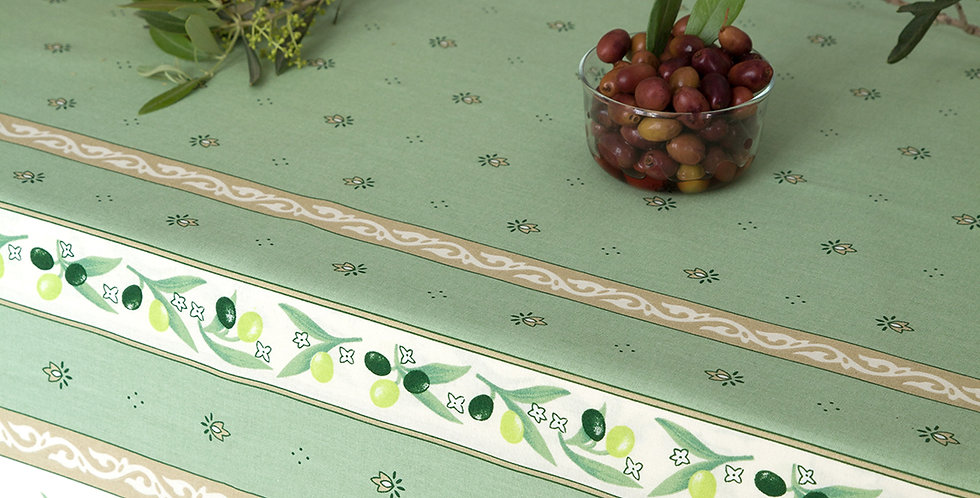 French Tablecloth Coated Green Ramatuelle