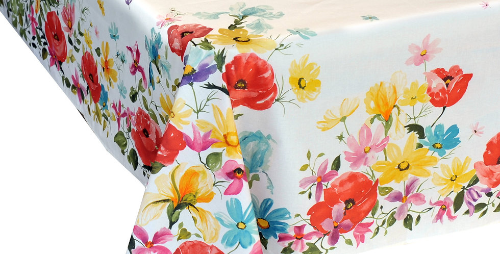 White Poppies Coated Cotton Tablecloth