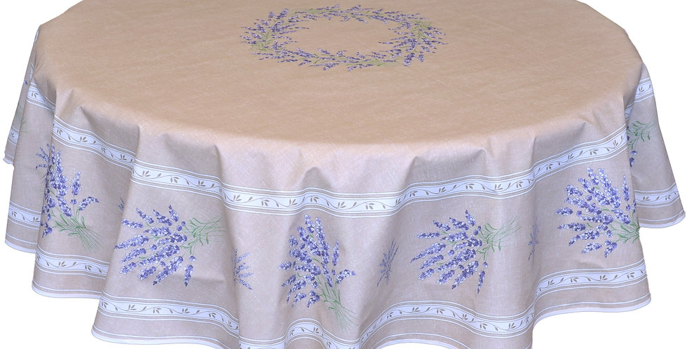 "Beige Valensole 70"" Round Coated Cotton Tablecloth"