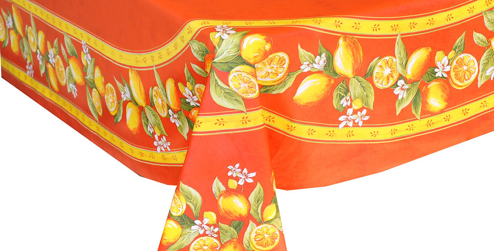 French Tablecloth Coated Orange Citron
