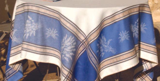 Ecru/Blue Senanque Jacquard Woven Tablecloths