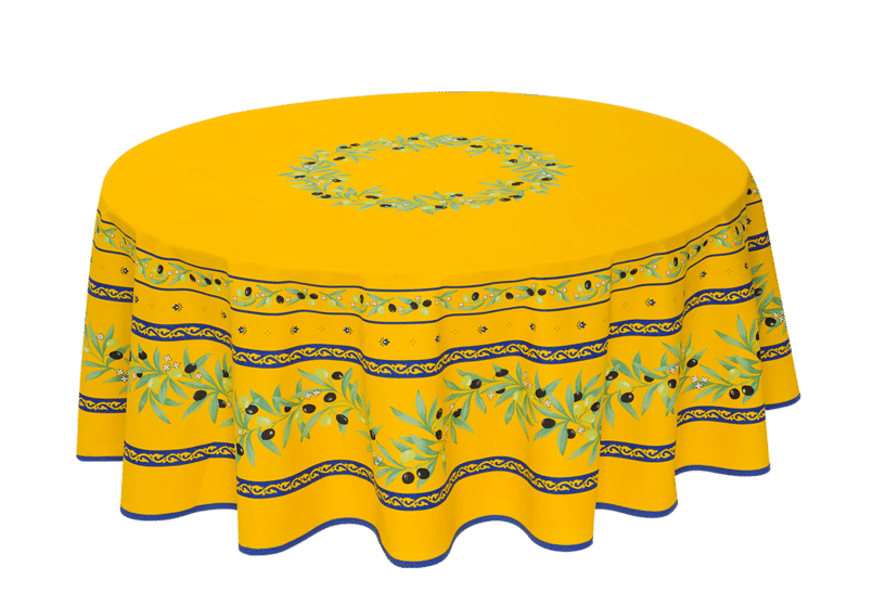 """Yellow/Blue Ramatuelle 70"""" Round Coated Cotton Tablecloth"""
