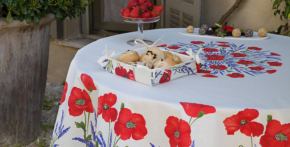 White Poppy & Lavender Round Coated Cotton Tablecloths