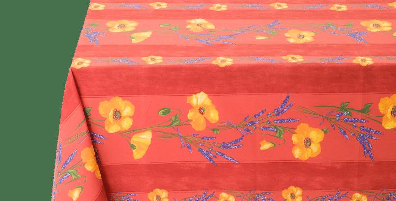 Orange Poppy & Lavender Striped Coated Cotton Tablecloths