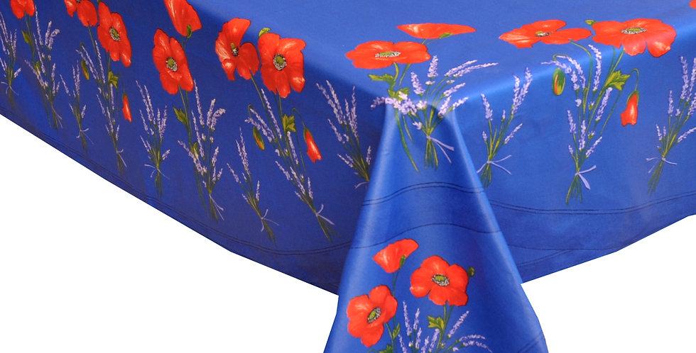 Blue Poppy & Lavender Center Design Coated Cotton Tablecloth