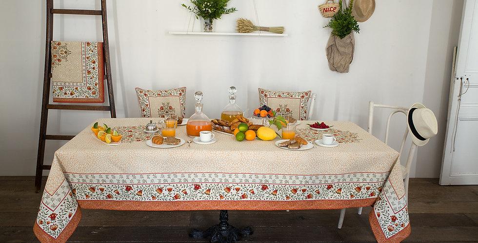 Ecru/Orange Aubrac Jacquard Tapestry Tablecloth