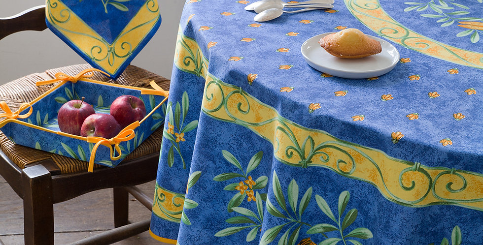 "Blue Cigale 70"" Round Coated Cotton Tablecloth"