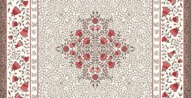 French Table Topper Jacquard Tapestry Taupe/Red Aubrac
