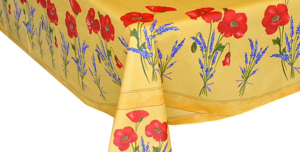 Yellow Poppy & Lavender Center Design Coated Cotton Tablecloths