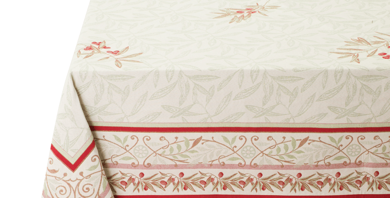 Ecru/Red Auriol Jacquard Tapestry Tablecloth