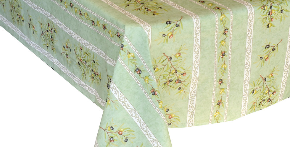 Green Clos Des Oliviers Striped Coated Cotton Tablecloths